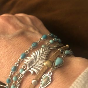 Lucky brand multi strand turquoise silver bracelet